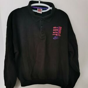 Rare Vintage Nike Just Do It, Press Stud Neck Collared Sweatshirt, Black