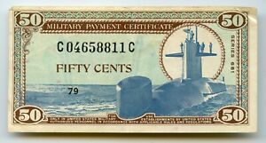 SERIES 681 50 CENT MILITARY US CURRENCY 1969-1970 SUBMARINE & ASTRONAUT