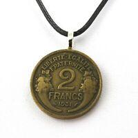 Collier pièce de monnaie France 2 francs Morlon Cupro-aluminium