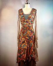 Bicici Formal Brown Paisley Silk Boho Hippie Ethereal Gown Dress 34 Bust prom