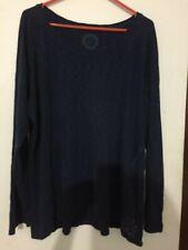 LIFE IS GOOD WOMEN Navy Long Sleeve Cotton T-Shirts Sz XXL