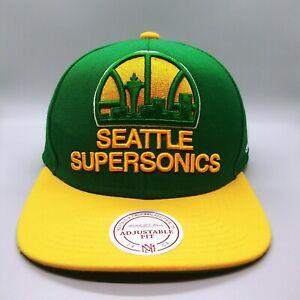 NWT Mitchell & Ness Seattle Supersonics Green/Yellow Bill Snapback Hat