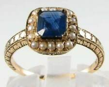 LOVELY 9K 9CT GOLD BLUE SAPPHIRE & PEARL ART DECO INS RING FREE RESIZE