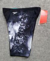 SPEEDO Boys Cascade Jammer Size 6 Endurance+ Black Grey BRAND NEW with tags