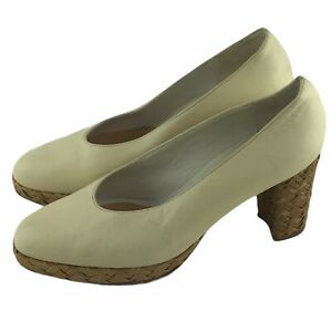 1990s Sam & Libby Made In Italy Rattan Straw Leather Platform Heels Ivory 37-1/2