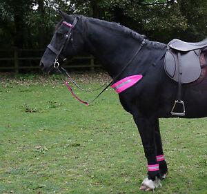PINK HI VIZ FLUORESCENT BRIDLE SET - 4X LEG, 2X BRIDLE, HAT & CHEST