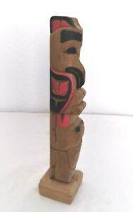 """Rare Northwest Coast Haida Raven Frog Totem Pole Signed Norman Natkong Jr 8.5"""""""