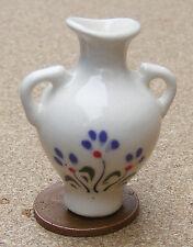 1:12 Scale Cream & Purple Ceramic Vase 3.5cm Tumdee Dolls House Ornament Crp3