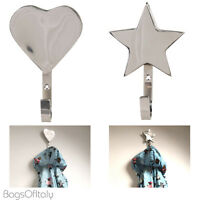 Stylish Silver Metal Wall Hangers Coat Hooks - 2 Styles Stars And Hearts