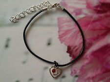 1 X Handmade Real Leather Cord Bracelet With Heart Pendant