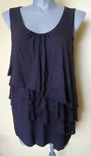 Ladies Sleeveless Blouse Shirt Top Black Stretch Tiered Frill Front Moda Size 18