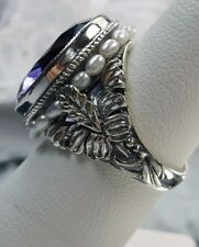 *Amethyst* & Seed Pearl Sterling Silver Art Nouveau Floral Filigree Ring Size: 8