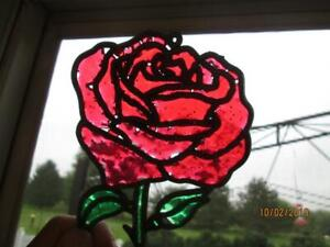 VINTAGE RED PLASTIC ROSE SUNCATCHER ORNAMENT
