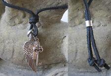 Halskette Kreuz schwarz Kette Leder Lederkette Herrenhalskette Schlüssel Flügel