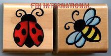 Ladybug & Bee ~ 2 piece StampCraft Wood Mount Rubber Stamp Set #440D378, Bugs