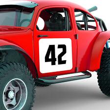 3 x Binario Portiera sfondo quadrati e numeri da corsa set-in Vinile Adesivo Rally
