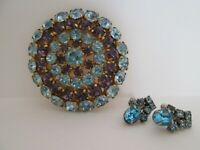 Vintage Round Purple Blue Stones Gold Silver Tone Pin Brooch Clip Earrings(J267)