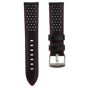 Black Genuine Leather Perforated Racing Watch Strap Red Stitching 20mm 22mm