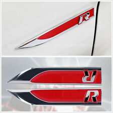 2pcs R Logo Knife Side Emblem Car Sticker Badge Fit For VW GTI CC Jetta Passat
