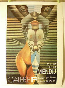 Mendij Art Modern Poster Display 1982 Galerie F Köln Am Rhein