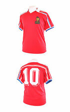 FRANCE RETRO 1986 10 (PLATINI) ROUGE MAILLOT FOOTBALL RETRO REPLIQUE LARGE L NEW
