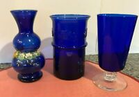 INTERESTING ODD Lot of 3 COBALT BLUE PIECES; TWO VASES AND A GLASS