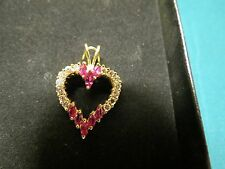 Fine Vintage Estate 14K Yellow Gold Red Ruby and Diamond Heart Pendant