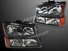 Pair Black Housing Headlights + Park Signal Lights for 2003-2006 Chevy Silverado