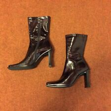Patent Leather Zip Mid-Calf Boots for Women