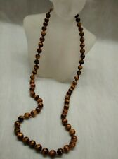 Pretty vintage Chinese tiger eye hand Knott silver filigree clasp necklace