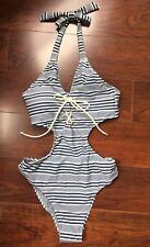 Womens Abercrobie & Fitch Bathing Suit Sexy One Piece Blue White Stripe Sz S