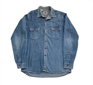 Vintage 90's Levi's Orange Tab Snap Button Blue Denim Pocket Retro Shirt - L