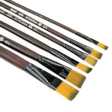 6 Brown Tip Nylon Paint Brushes for Art Artist Supplies