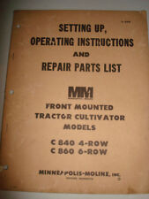 Minneapolis Moline FRONT MOUNTED PLOW TRACTOR C840 C860 4 6 ROW OPERATOR MANUAL