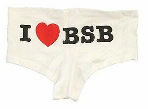 Backstreet Boys I Heart BSB White Booty Shorts Panties NEW