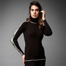 AA Platinum Womens Polo Neck Sweatshirt Sweater Black Long Sleeve Outerwear