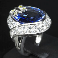VIOLET BLUE TANZANITE RING OVAL 21 CT. SAPPHIRE 925 STERLING SILVER SIZE 6.75
