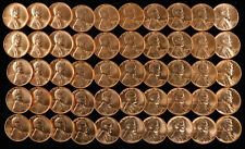 1957 D LINCOLN WHEAT CENT PENNY 1C GEM BU BRILLIANT UNCIRC FULL ROLL 50 COINS