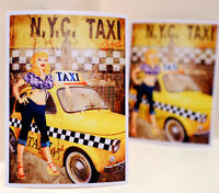 """#3449 NYC Taxi Checker Girl PinUp Vintage 3x4"""" Luggage Label Decal Sticker"""