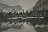 Rare Antique 1872 Engraving of Mirror Lake Yosemite California Original Wall Art