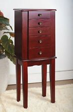 Organizer Necklace Wood Veneer Armoire Jewelry Cabinet Box Storage Chest Stand