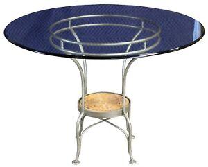 """Silvertone Metal & Wicker Round Glass Top Breakfast Table 42"""""""