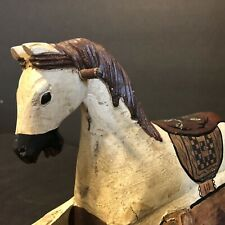 "Primitive ~ ADORABLE ~ Hand carved & Hand painted Toy Rocking Horse 12 3/4"" Long"