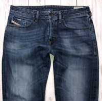 Mens DIESEL Buster Jeans W34 L32 Blue Regular Slim Tapered Wash 0881Q