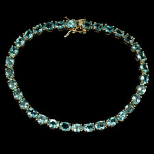 Oval Neon Blue Apatite 5x4mm 14K Yellow Gold Plate 925 Sterling Silver Bracelet