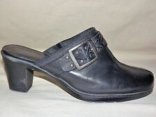 "WOMENS WORN ONCE ""CLARKS"" BENDABLES BLACK LEATHER CLOGS  SIZE 8 1/2 W"