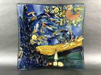 Van Gogh Starry Night Murano Glass Plate Paperweight