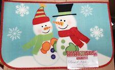 "PRINTED NYLON RUG,17""x28""(nonskid) WINTER,CHRISTMAS,2 SNOWMEN ON BLUE,D shape,BH"