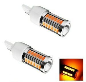 Ampoules T20 LED W21W Orange Veilleuses 7440 pour Clignotants 33 SMD Auto 12V
