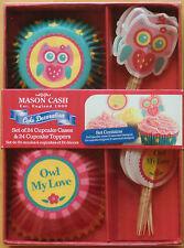 ★ MASON CASH ★ Cupcake-Deko Set ★ EULE ★ Mit 24 Muffinförmchen und 24 Fähnchen ★